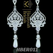 Crystal Simulated Pearl Dangling Earrings For Brides