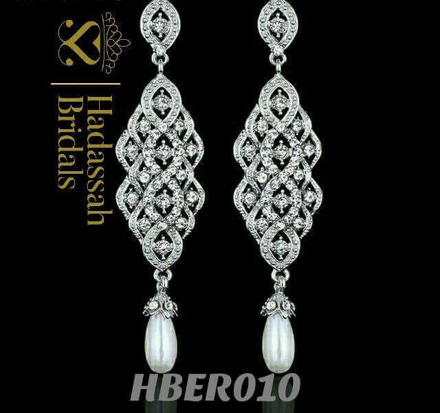 Exquisite Pearl Long Drop Bridal Earrings