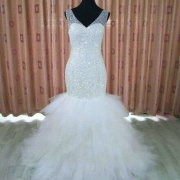 Full beaded bodice mermaid wedding gown