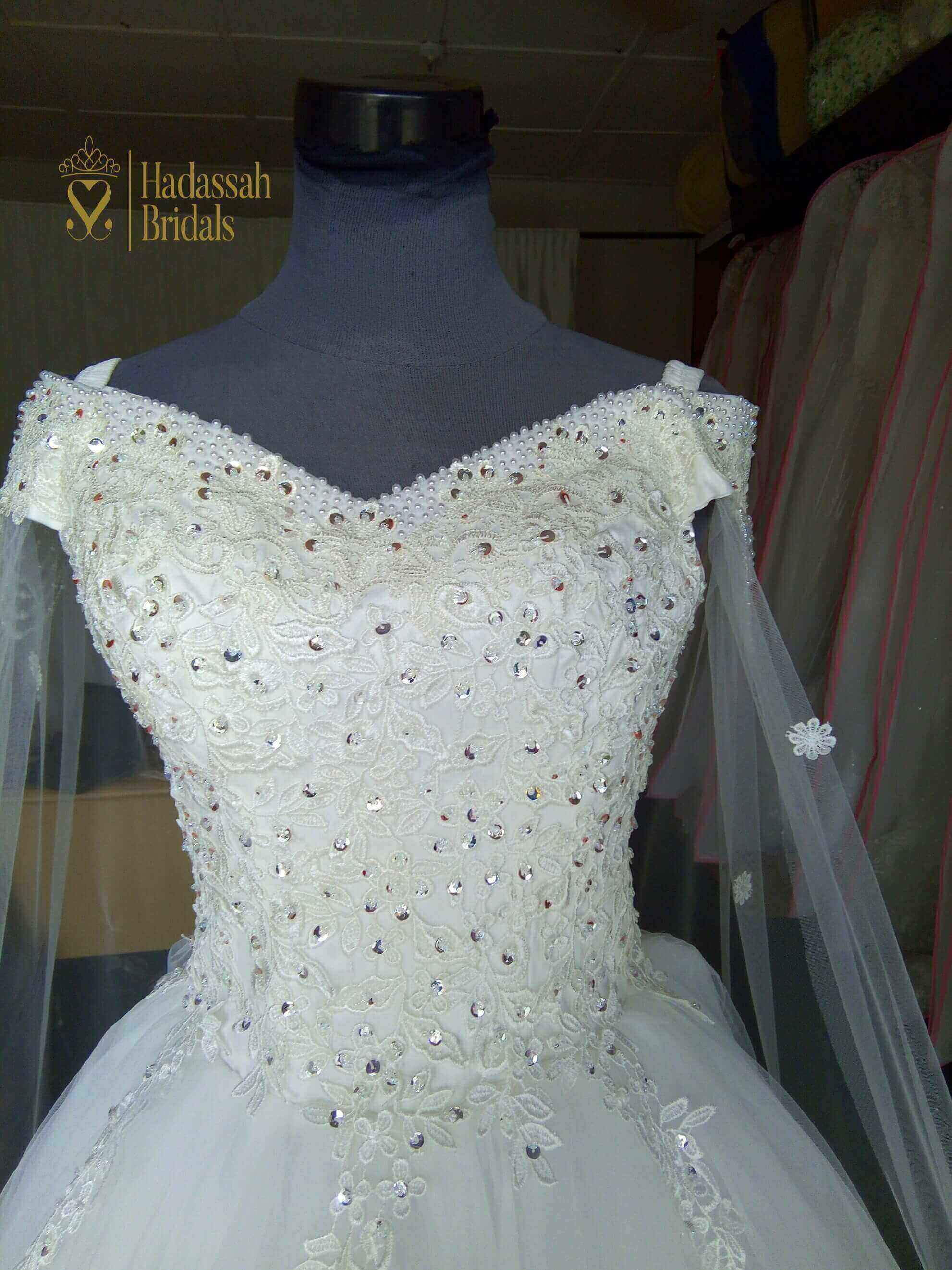 Off Shoulder Beaded Ball Wedding Gown With Cape For Sale In Lagos ...