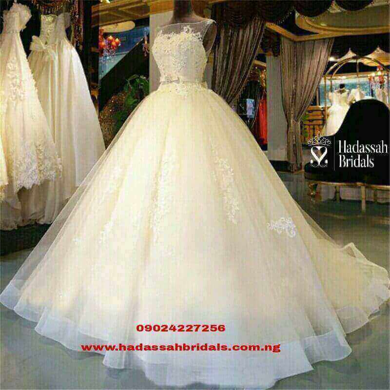 LONG TAIL BALL WEDDING GOWN IN LAGOS | Hadassah Bridal House