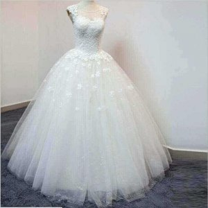 ILLUSION BACK BALL WEDDING GOWN