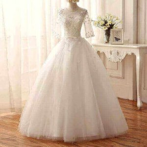 VINTAGE BALL WEDDING GOWN WITH SLEEVES