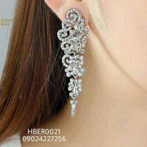 Floral Crystal Dangling Bridal Earrings