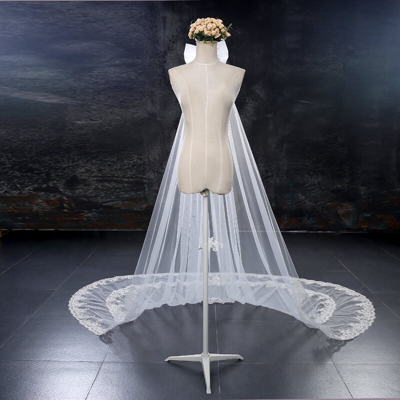 Multilayered Lace Pattern Cathedral Veil | Hadassah Bridal House