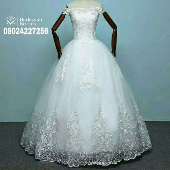 Applique Off Shoulder Ball Gown Wedding For Rent In Lagos