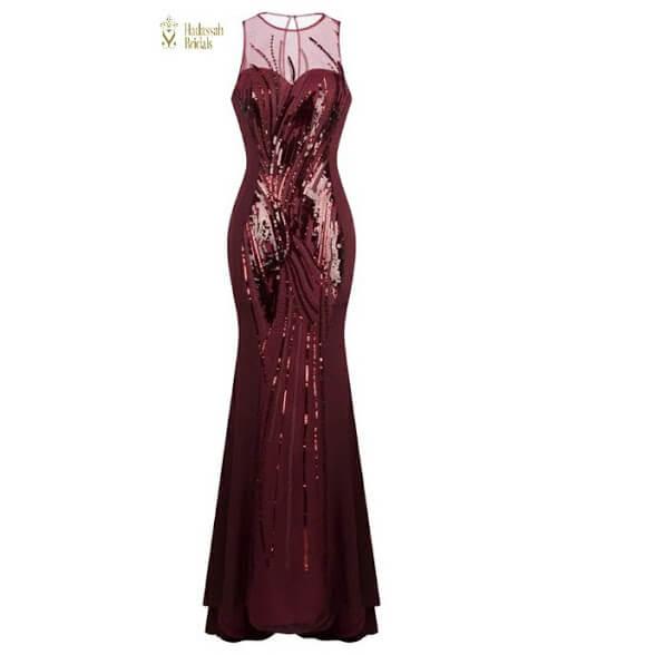 c47b4460caa Burgundy Sequins Reception Party Dress In Nigeria