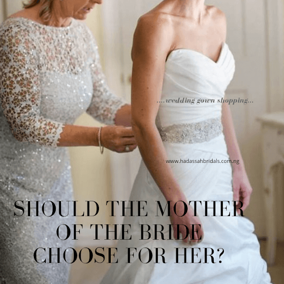 Mother of the bride choosing wedding gown