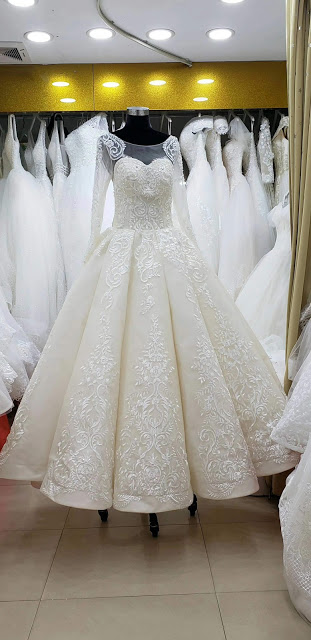 luxury ball wedding gown front