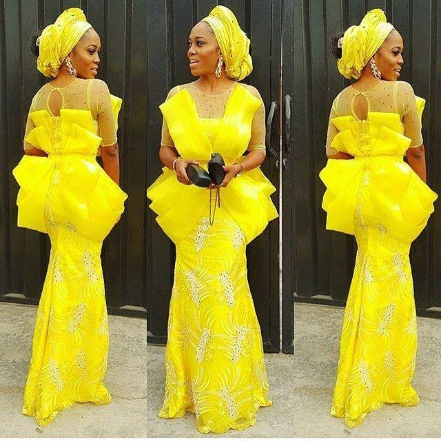 Yellow affair #asoebispecial #asoebi #speciallovers #makeup #wedding  @yomisummerhues | African fashion dresses, African lace styles, Lace fashion