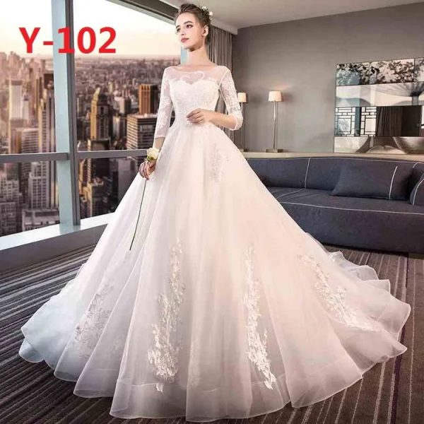 wedding gown with sleeves and tail