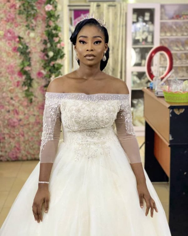 Off-shoulder Ball gown with stone