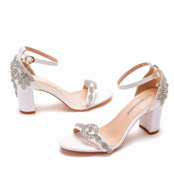 Block heel bridal shoe