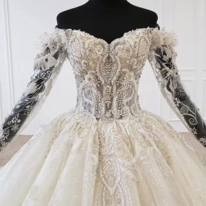 Off shoulder Ball gown with Sleeves