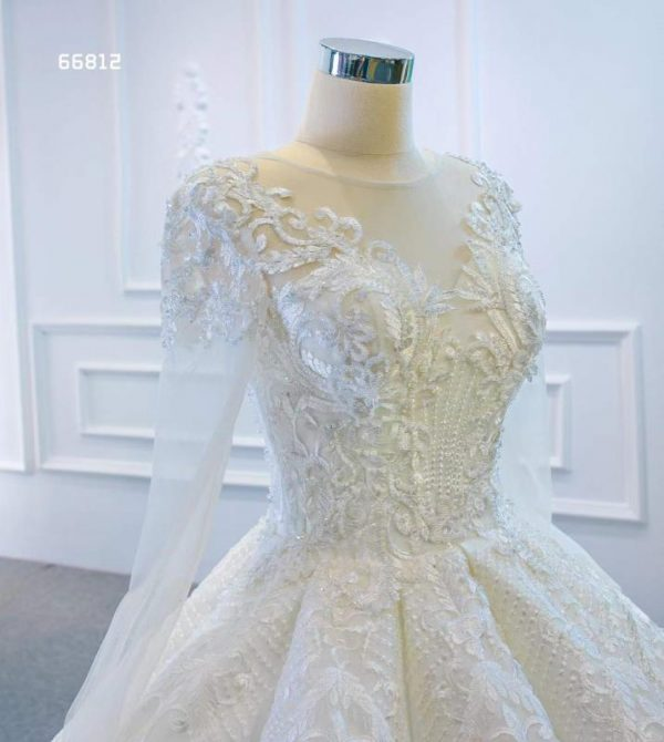 Floor Length Ball Gown With Sleeves