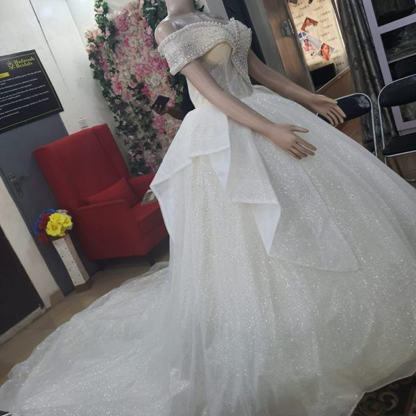 Off-Shoulder Ball Gown With Pearls & Stones