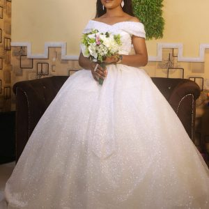 off-shoulder Ball Gown With Bow